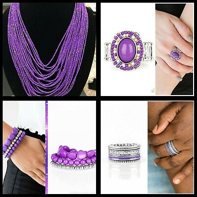 $ CDN11.33 • Buy Jewelry Lot Paparazzi NWT Set Of 4 Purple With Seed Beads Necklace Bracelets