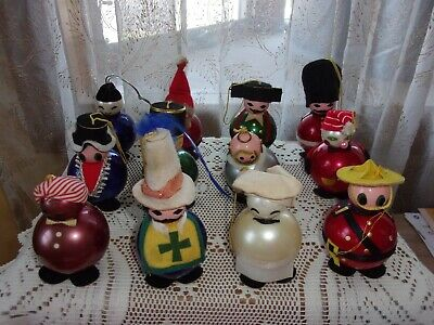 $ CDN25.16 • Buy Vintage 1960's Roly Poly Footed Christmas Ornaments Made In Hong Kong 12 Pcs GUC