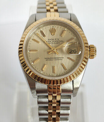 $ CDN3256.95 • Buy ROLEX Oyster Perpetual Datejust 26mm Tapestry Dial Ladies Watch (69173)