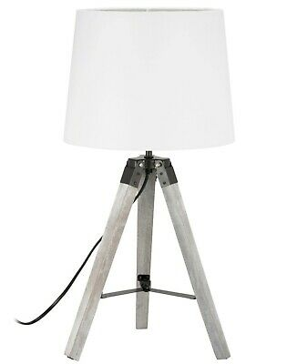 £35 • Buy Pair Of Grey And White Wooden Tripod Lamp