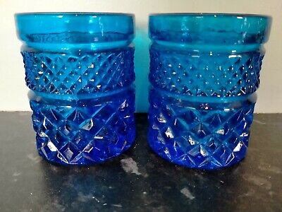 £4.95 • Buy Pair Of Blue Cut Glass Tumblers/ Candle Holders