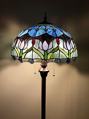 £156.86 • Buy Enjoy Tiffany Style Floor Lamp Tulips Blue Stained Glass Vintage EF1655 64H16W