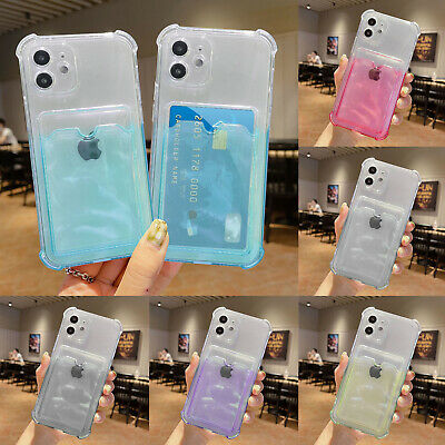 AU11.09 • Buy For IPhone 12 Pro Max 11 XS XR 8 7 SE Case Clear Soft Silicone Card Holder Cover
