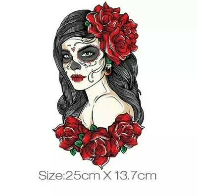 £5.45 • Buy IRON ON HEAT FABRIC TRANSFER/STICKER FOR DIY CLOTHES (SKULL LADY 1) X 2
