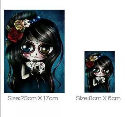 £5.45 • Buy IRON ON HEAT TRANSFER/STICKER FOR DIY CLOTHES (SKULL LADY 3) X 2