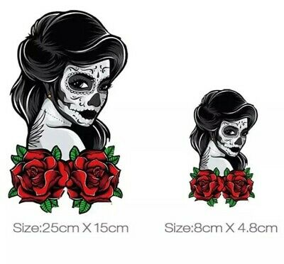 £5.45 • Buy IRON ON HEAT TRANSFER/STICKER FOR DIY CLOTHES (SKULL LADY 4) X 2