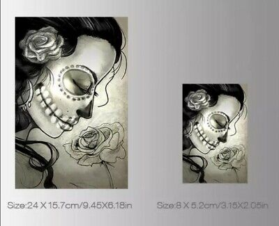 £5.45 • Buy IRON ON HEAT TRANSFER/STICKER FOR DIY CLOTHES (SKULL LADY 5) X 2