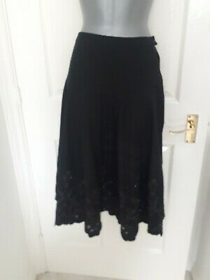 £2.79 • Buy Black Skirt With Scalloped Hem & Floral Detail & Beading In Size 18