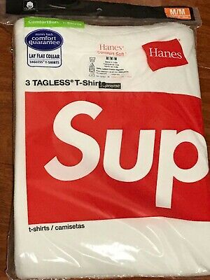 $ CDN58.49 • Buy SUPREME HANES WHITE TAGLESS T-SHIRTS PACK OF 3 Medium/100% AUTHENTIC NEW*