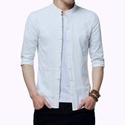 £25.99 • Buy Mens Chinese Style Shirt Half Sleeve Tops Blouses Slim Thin Casual New Summer