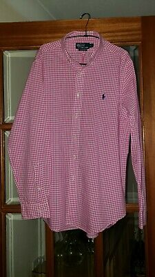 £15 • Buy Ralph Lauren Polo Mens Pink & White Gingham Check Shirt Classic-Fit Size Large