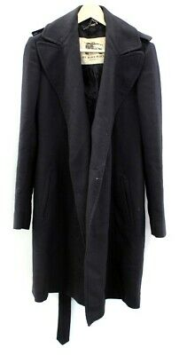 £4.99 • Buy Ladies BURBERRY Navy Polyester Blend Button Up Belted Trench Coat UK Size 10 D36