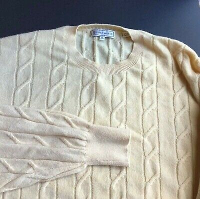 $19.48 • Buy PETAER MILLAR  Crew Neck Soft Yellow Cabled 100% Cashmere Sweater Size XL