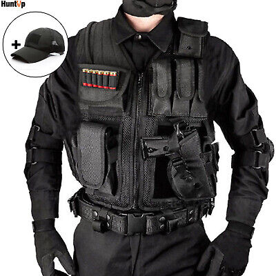$31.99 • Buy Military Tactical Vest With Pistol Holster Airsoft Assault Combat Plate Carrier