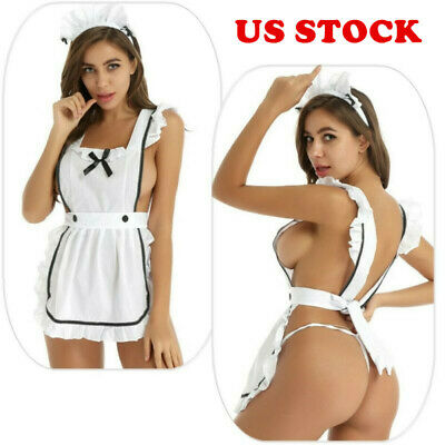 $9.69 • Buy US Sexy Lingerie Womens Cosplay Maid Ruffle Apron Outfit Fancy Dress Costume