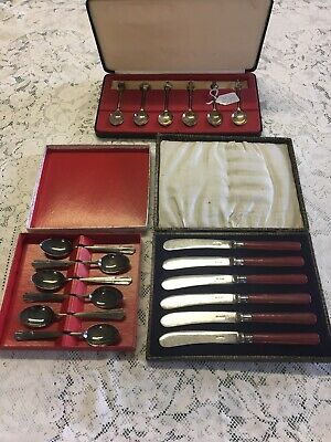 £3.99 • Buy Cutlery: 3 X Boxed Sets Of Vintage Silver Plated Tea Spoons And Butter Knives