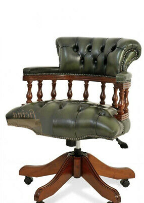 £499.99 • Buy Chesterfield Captains Desk Office Chair Antique Green (swivel)