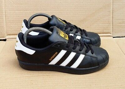 AU66.20 • Buy Adidas Superstar Black & White Shell Toe Trainers Size 3 Uk Excellent Gold Logo