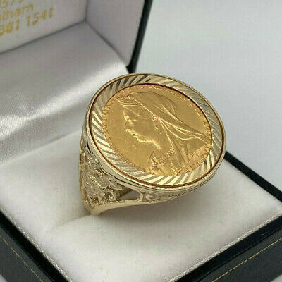 £765 • Buy 22ct Gold Victoria Full Sovereign In 9ct Gold Ring Mount.  Goldmine Jewellers.