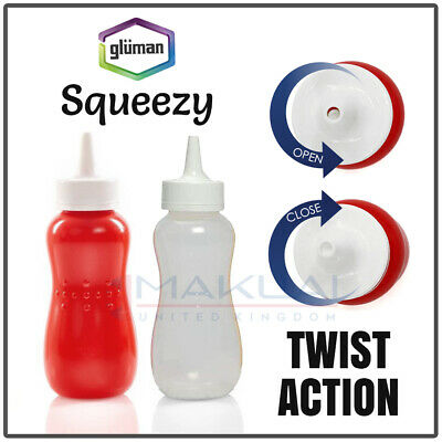 £5.99 • Buy 2 X Twist Open Squeezy 13oz Sauce Bottles With Nozzle Ketchup Mayo Mustard Cap