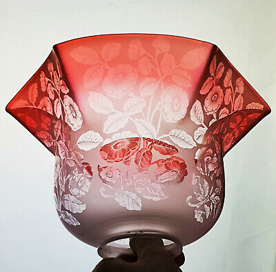 £122 • Buy 2 X Victorian Etched Cranberry Glass Kerosene Paraffin Oil Gas Lamp Shade Shades