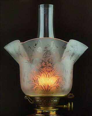 £12.50 • Buy Victorian Crystal Etched Glass Kerosene Paraffin Oil Comet Fit Gas Lamp Shade