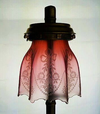 £185 • Buy Cranberry Crystal Etched Glass Kerosene Paraffin Oil Gas Lamp Shade Tilley Fit