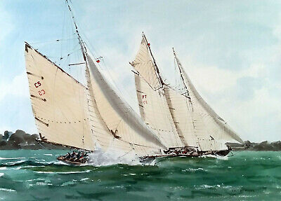 £26 • Buy 540 On A Sea Of Green - LARGE Sailing Yachting Maritime Seascape Ken Hayes