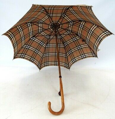 £52 • Buy Vintage PARAGON FOX FRAMES Umbrella Wooden Handle With BURBERRY Canopy - M17