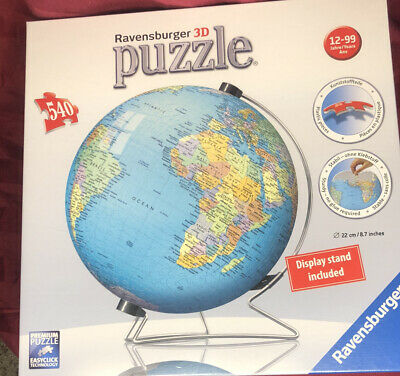 $24.99 • Buy Ravensburger 3D Puzzle THE EARTH 540 Pieces World Globe With Stand NEW Sealed