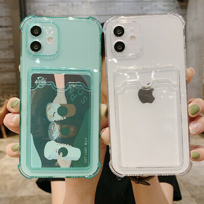 AU11.09 • Buy For IPhone 12 11 Pro Max XS XR 8 7+ Case Clear Silicone Card Holder Wallet Cover