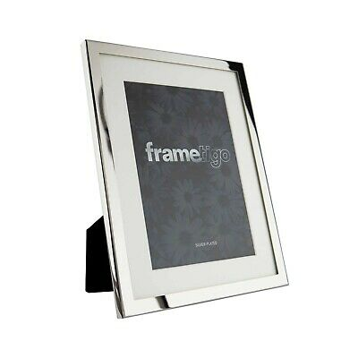 £11.99 • Buy Silver Plated Photo Frame Modern Picture With White Mount Freestanding Gift Box