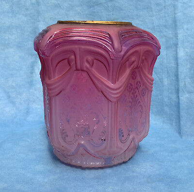 £37 • Buy Antique Victorian Cranberry Glass To Clear Acid Etched Oil Lamp Shade