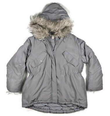 £28.11 • Buy H&M Gray Faux Fur Trim Hood Long Insulated Adjustable Coat Jacket Womens Size M
