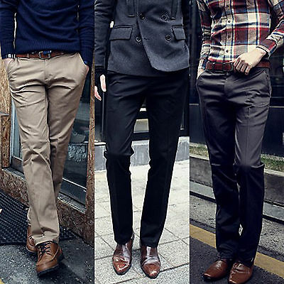 $22.89 • Buy Mens Dress Pants Chino Jeans Office Work Straight Leg Trousers Formal Business