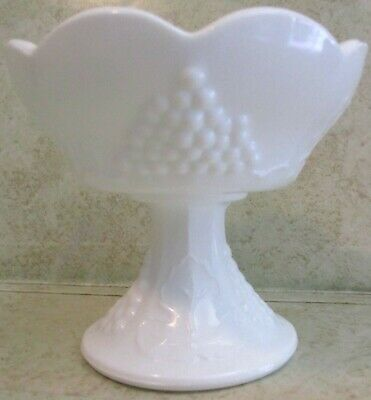 $22.49 • Buy Vintage Footed Milk Glass Grapevine Tall Scalloped Candle Stick Holder 4x4 EUC