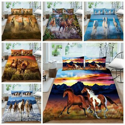 £7.99 • Buy 3D Horse Print  Quilt Cover Bedding Set Single Double & King Size