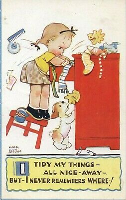 £1.99 • Buy Mabel Lucy Attwell Postcard 'i Tidy My Things' Written On Unposted Valentines