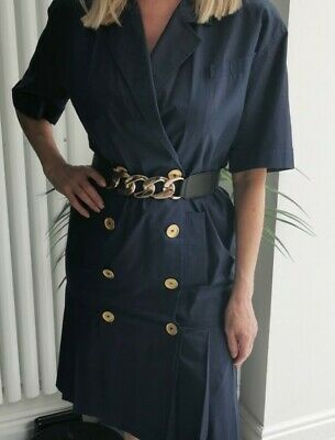 £18 • Buy Luisa Spagnoli Italy Size 14 /42 Shirt Dress Drop Waist Military Button Front