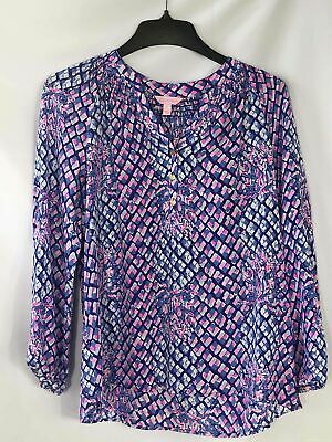 $9.99 • Buy Lilly Pulitzer Blue & Pink Abstract Snakeskin Print Blouse - Women's Small
