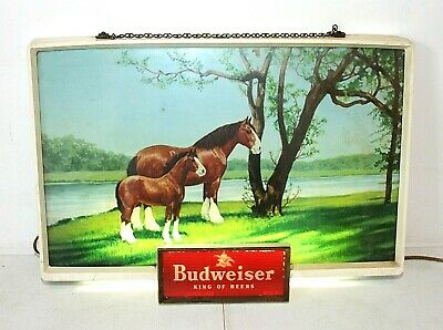 $ CDN219.43 • Buy BUDWEISER CLYDESDALE Vintage LIGHTED SIGN, Mare & Foal Horses, 20 X 14  Light-Up