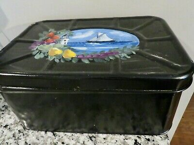 $9.99 • Buy Vintage Empeco Tin Farmhouse Vented Bread Box TOLE PAINTED  Sailboat Lighthouse
