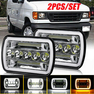 $54.99 • Buy Pair For Ford E-150 E-250 E-350 H6054 7x6  LED Headlights Sealed Square Halo DRL