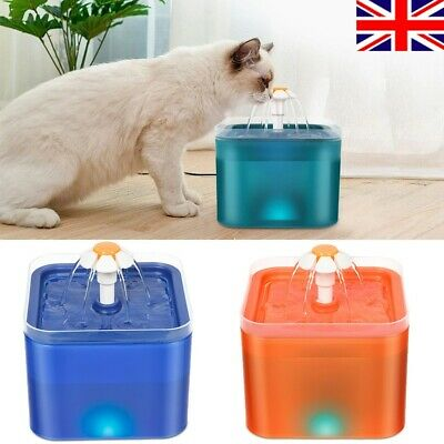 £14.98 • Buy Cat Drinking Water Fountain Pet Dog Electric Automatic Bowl Filter 2L LED Light