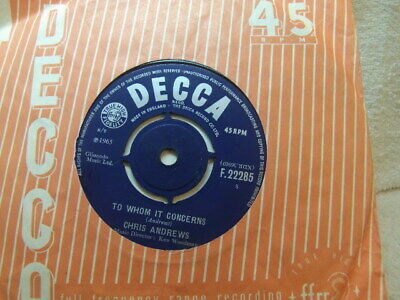 """£3.50 • Buy Chris Andrews – To Whom It Concerns 1965 7"""" Decca F 22285"""