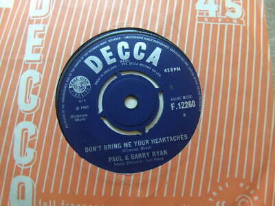 """£3.50 • Buy Paul & Barry Ryan – Don't Bring Me Your Heartaches 1965 7"""" Decca F 12260"""