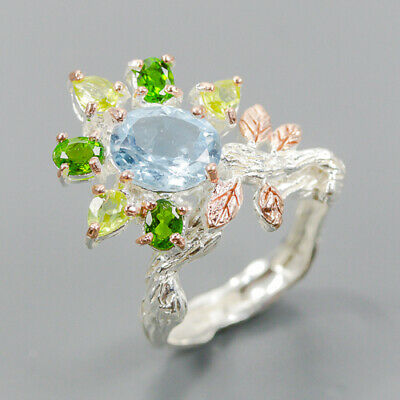 £4.67 • Buy One Of A Kind Jewlry SET Blue Topaz Ring Silver 925 Sterling  Size 6.5 /R152811