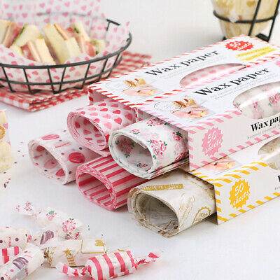 £7.51 • Buy 50Pcs Wax Paper Grease Food Wrapping Paper For Bread Sandwich Oilpaper Bak~qS Gd
