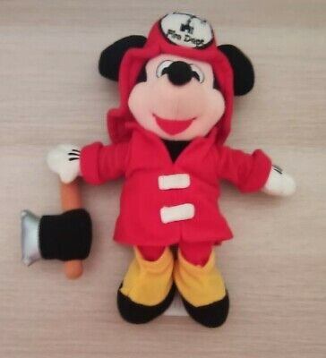 """£4.99 • Buy Disney Bean Bag Plush - FIREMAN MICKEY MOUSE WITH AXE 9 Inch"""" Soft Toy 90s VTG"""