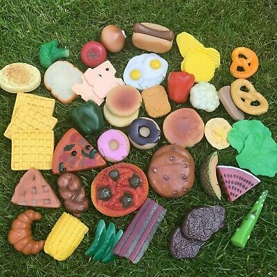 £5.99 • Buy Group Of Plastic Rubber Play Food Mixed Lot Pizza Hotdog Cakes - Play Shops